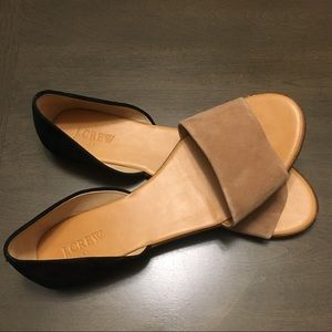 J Crew Suede Open Toe Flats in Tan/Black - 9